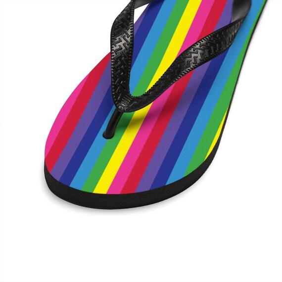 The Vivid Collection: Rainbow Striped Unisex Flip-Flops