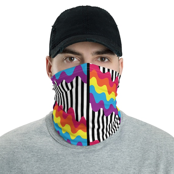 The Oh So Wavy Collection: Neck gaiter - Face Mask Covering - Colorful Wavy Striped Pattern - Block Wind and Sun - Lightweight for Fishing