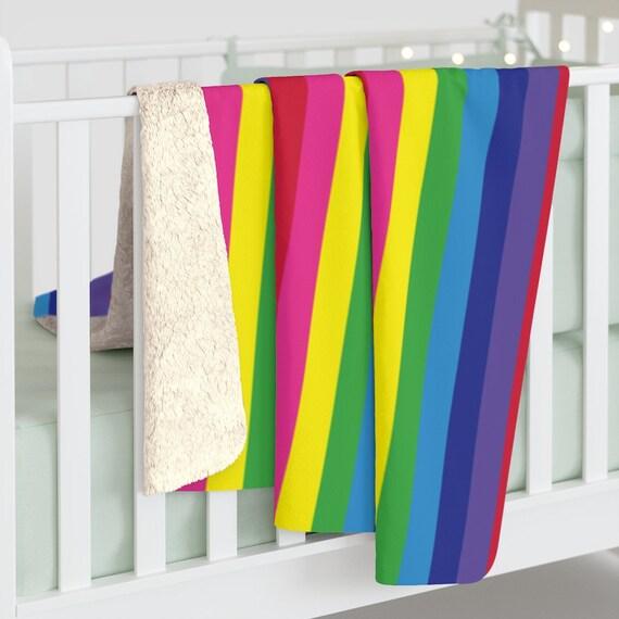"The Vivid Collection: Rainbow Striped Sherpa Fleece Blanket - Cozy Plush Blanket 50"" x 60"" - Rainbow Throw Blanket"