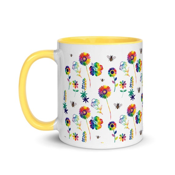 The Floral Collection Mug with Color Inside and a Bee
