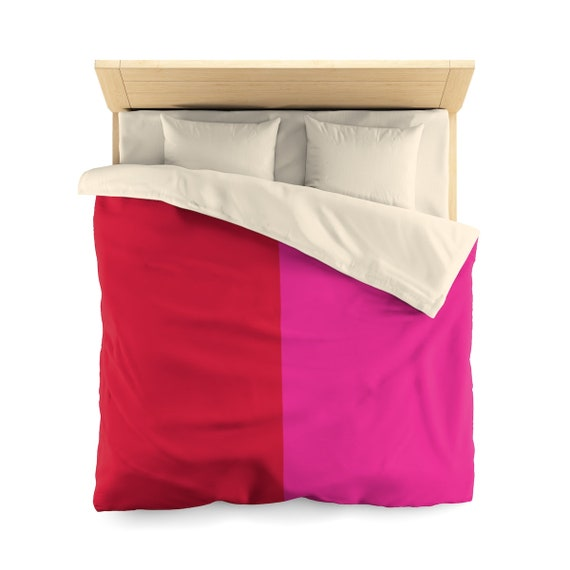Red + Pink Two Toned Microfiber Duvet Cover
