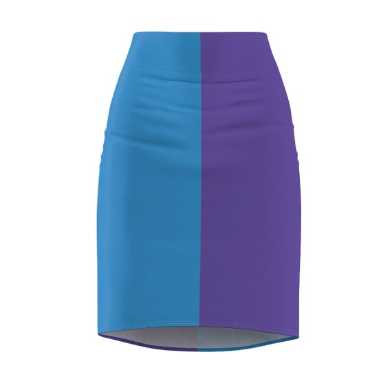 Blue + Purple Two Toned Women's Pencil Skirt