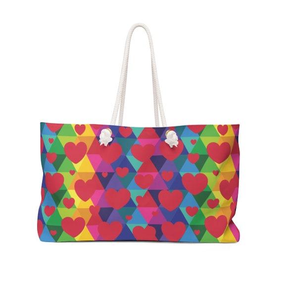 Colorful Rainbow Hearts Weekender Bag