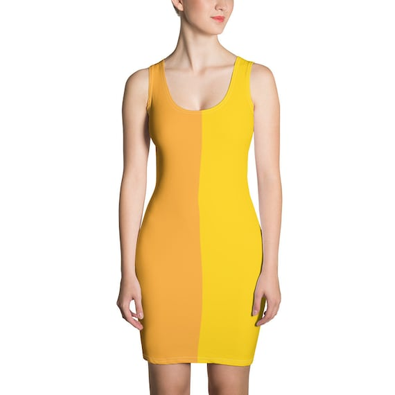 Cute Mustard Yellow Two Toned Dress - Color Block Dress