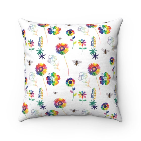 The Floral Collection: Spring Flowers Spun Polyester Square Pillow