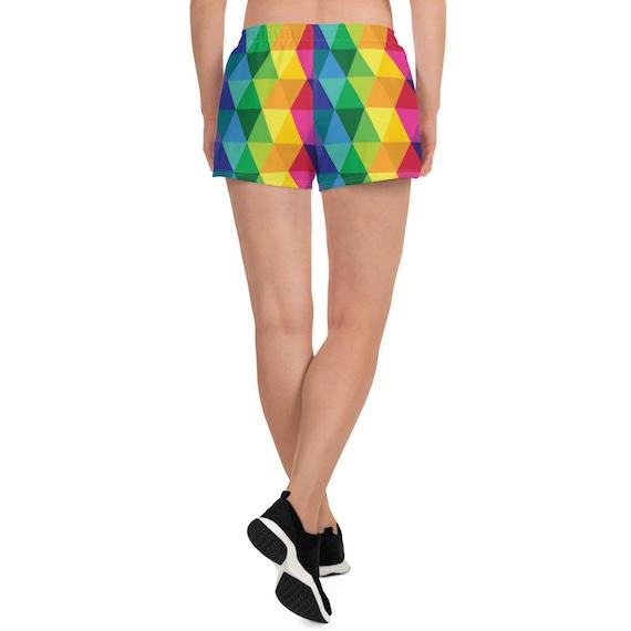 The Rainbow Geo Women's Athletic Short Shorts