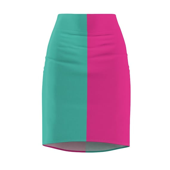 Turquoise and Hot Pink Two Toned Women's Pencil Skirt - Color Block Skirt