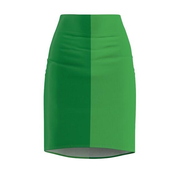 Dark + Light Green Women's Pencil Skirt