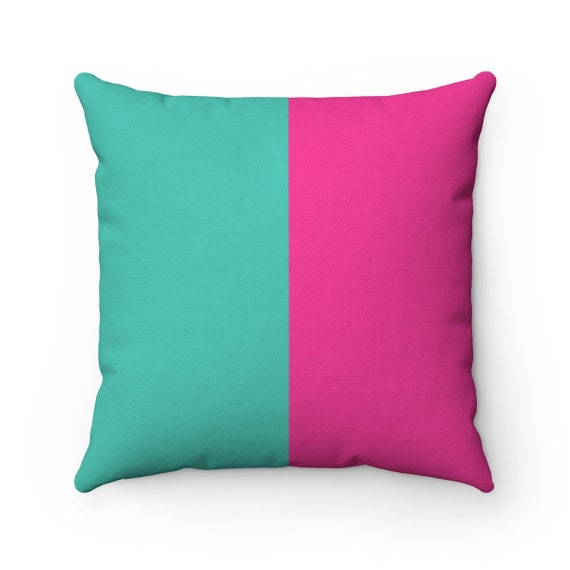 Turquoise and Pink Two Toned Square Pillow - Color Block Pillow