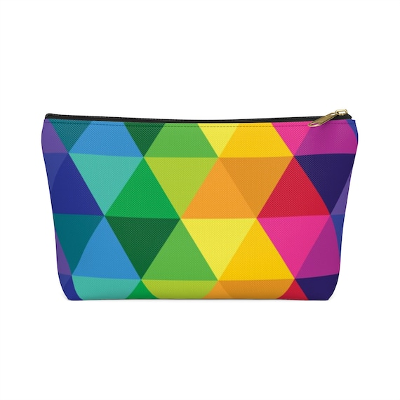 Accessory Pouch W TBottom Colorful Rainbow Geometric Pattern Purse Gift for Her