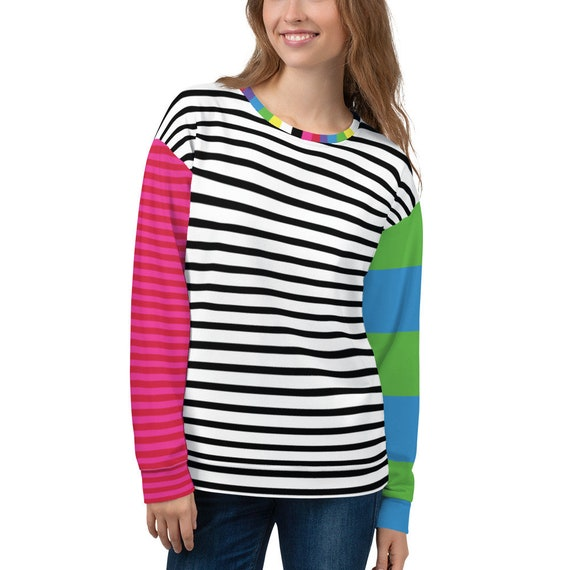 Colorful Striped Unisex Sweatshirt - Long Sleeve Multi colored Pullover Top