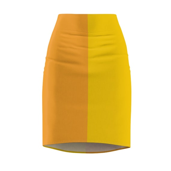 Yellow + Orange Two Toned Women's Pencil Skirt