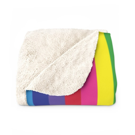 "The Vivid Collection: Rainbow Striped Sherpa Fleece Blanket - Cozy Plush Blanket 50"" x 60"" - Rainbow Throw Blanket"