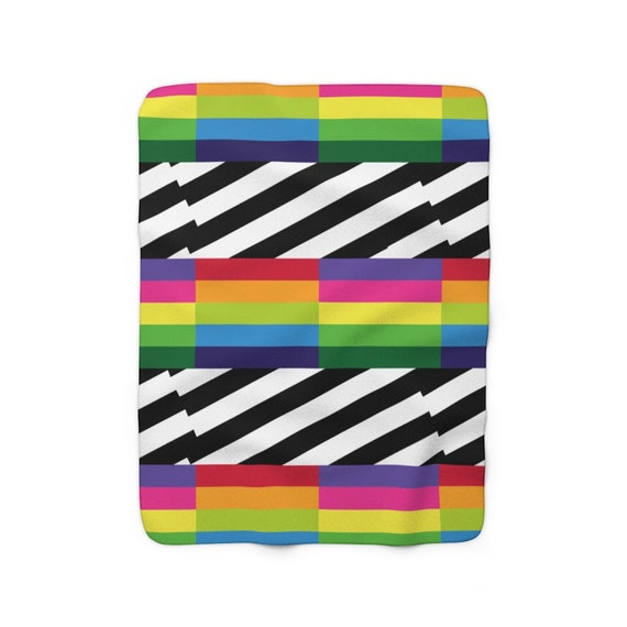 Rainbow Striped Sherpa Fleece Blanket With Black and White Stripes
