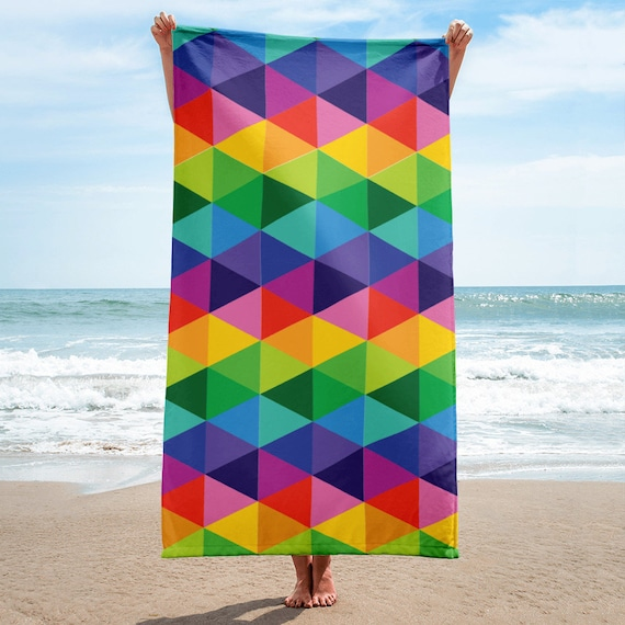 Colorful Towel Abstract Beach Towel Art Towel Custom Beach Towel Rainbow Towel Bath Towel Beach Lovers Gifts for Her