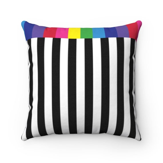 The Black and White Collection: Spun Polyester Striped Square Pillow