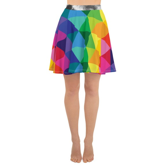 Hider House Rainbow Skater Skirt with Tie Dye Band