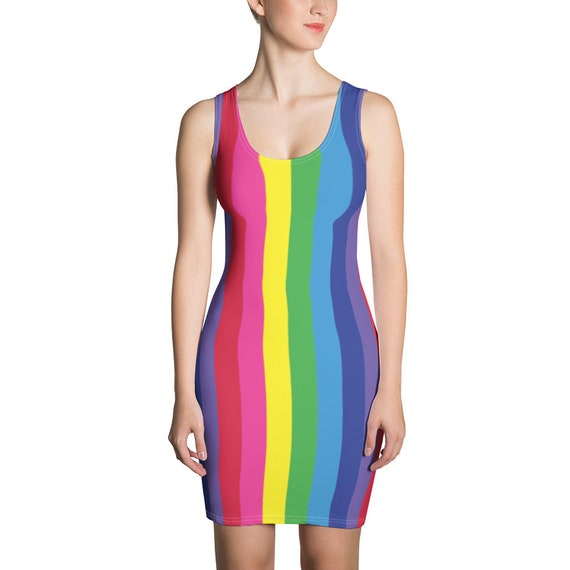 The Vivid Collection: Rainbow Striped Fitted Dress