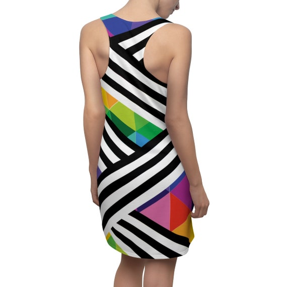 Black and White Striped Rainbow Racerback Dress