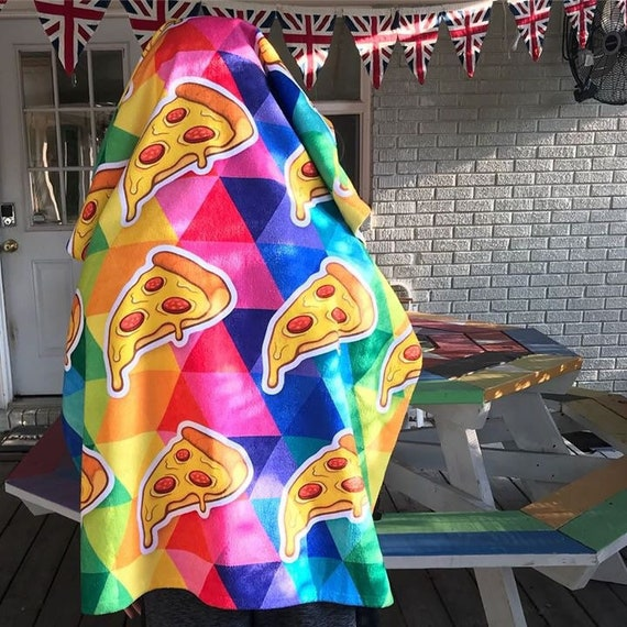 Colorful Pizza Towel for the Pool or Beach Gift for Birthday Rainbow Towel