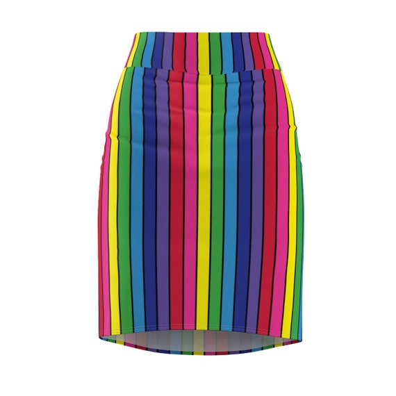The Vivid Collection: Rainbow Striped Women's Pencil Skirt