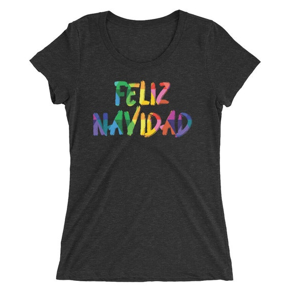 Feliz Navidad Ladies' short sleeve t-shirt Colorful Christmas Shirt Gift