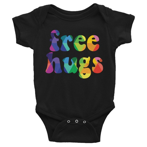 Colorful Free Hugs Baby Snapsuit Gift for Him or Her Rainbow Infant Bodysuit Baby Shower Gift for Baby One-piece