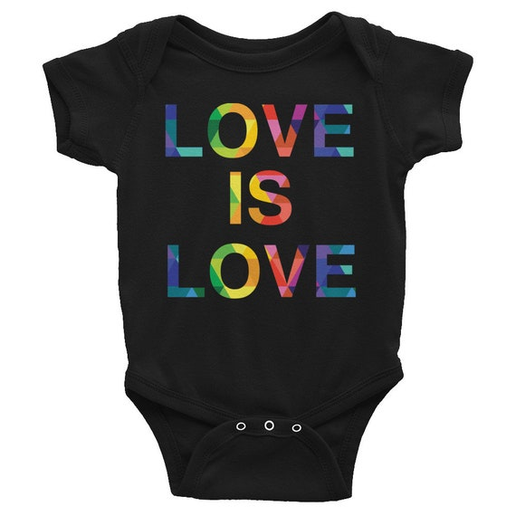 Infant Bodysuit Love is Love Jumpsuit Colorful Rainbow One Piece Gift for Baby