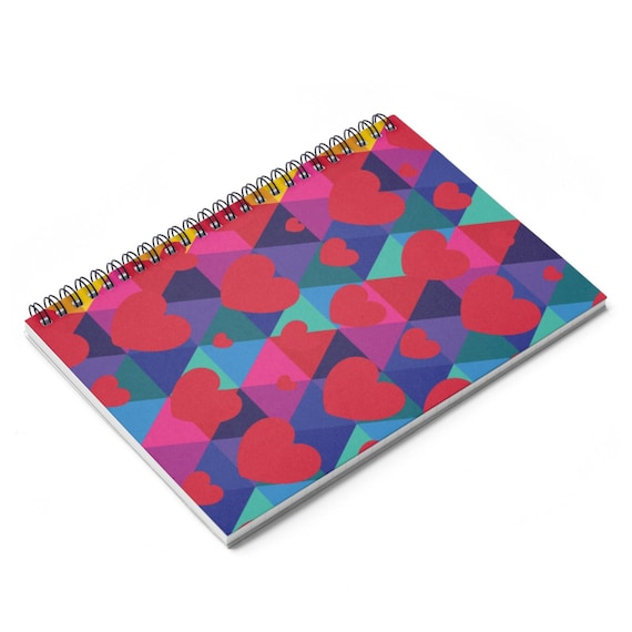 Colorful Hearts Spiral Notebook - Ruled Line - Gift for Her
