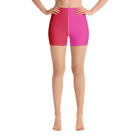 Red + Pink Two Toned Yoga Shorts