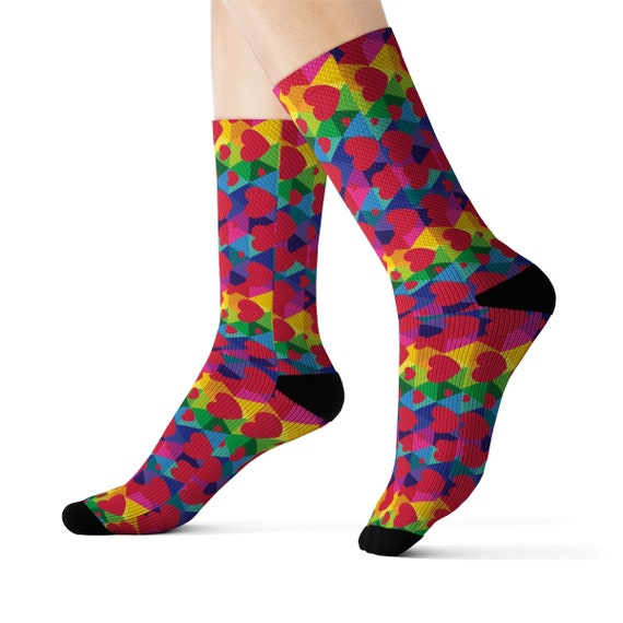 Colorful Rainbow Heart Sublimation Socks Gift