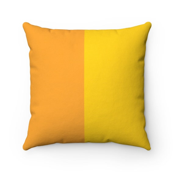 Mustard Two Toned Square Pillow - Color Block Pillows