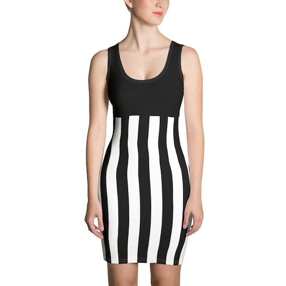 The Sexy Beetlejuice Dress - Black and White Striped Dress