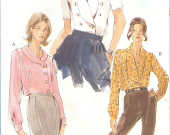 1999 Misses' Double Breasted Loose Fitting Blouse Top with Shawl Collar Uncut Factory Fold Size 8, 10, 12 - Vogue Sewing Pattern 9994