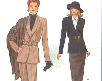 1993 Misses' Loose Fitting Shawl Collar Jacket, Skirt or Pants and Shawl Uncut Factory Fold Size 14, 16, 18 - Vogue Sewing Pattern 8790