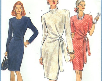 1991 Misses' Fitted Straight Dress with Tucked Left Front Uncut Factory Fold Size 8,10,12 - Very Easy Very Vogue Sewing Pattern 8226