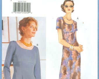 1997 Misses' Fitted Bodice Dress with Raised Waist Uncut Factory Fold Size 14,16,18 - Very Easy Very Vogue Sewing Pattern 9610