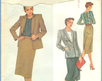 1980s Misses' Jacket, Blouse and Straight Skirt Suit by Christian Dior Uncut Factory Fold Size 10 - Vogue Paris Original Sewing Pattern 2405