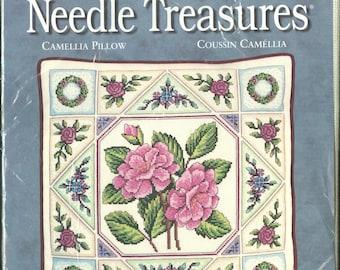 "Camellia 14"" x 14"" Pillow NIP DIY Counted Cross Stitch Kit by Designer Michael A. LeClair 13"" x 13"" - JCA Needle Treasures Kit 04623"