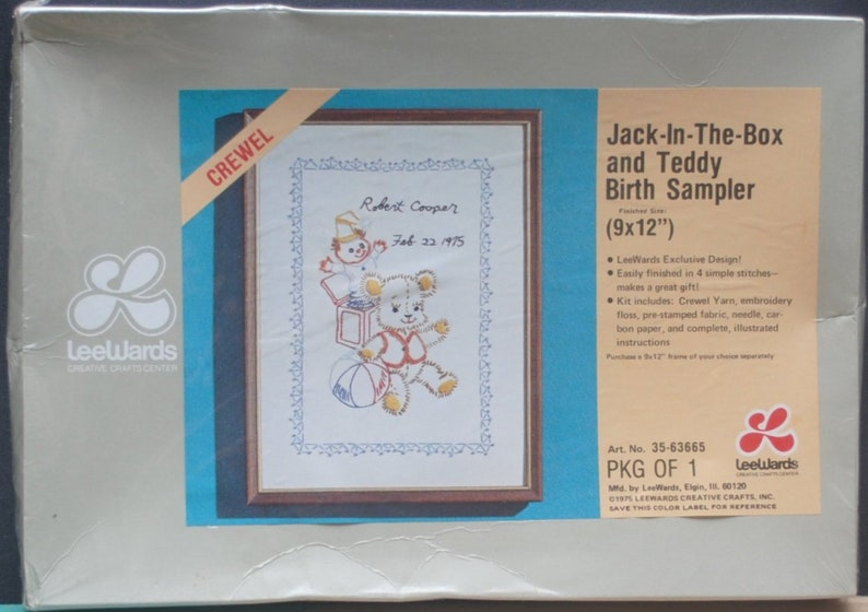1975 Jack In the Box and Teddy Bear 9 x 12 Birth Announcement Sampler DIY NIP Crewel Needlework Kit 9 x 12 LeeWards Kit 35-63665