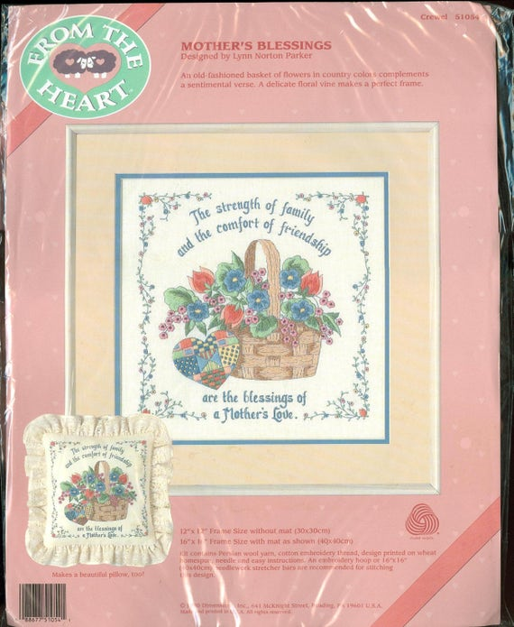 Vintage Dimensions From The Heart Kit 51054 1990 Mother/'s Blessing NIP DIY Crewel Needlework Kit Designed by Lynn Norton Parker 12 x 12
