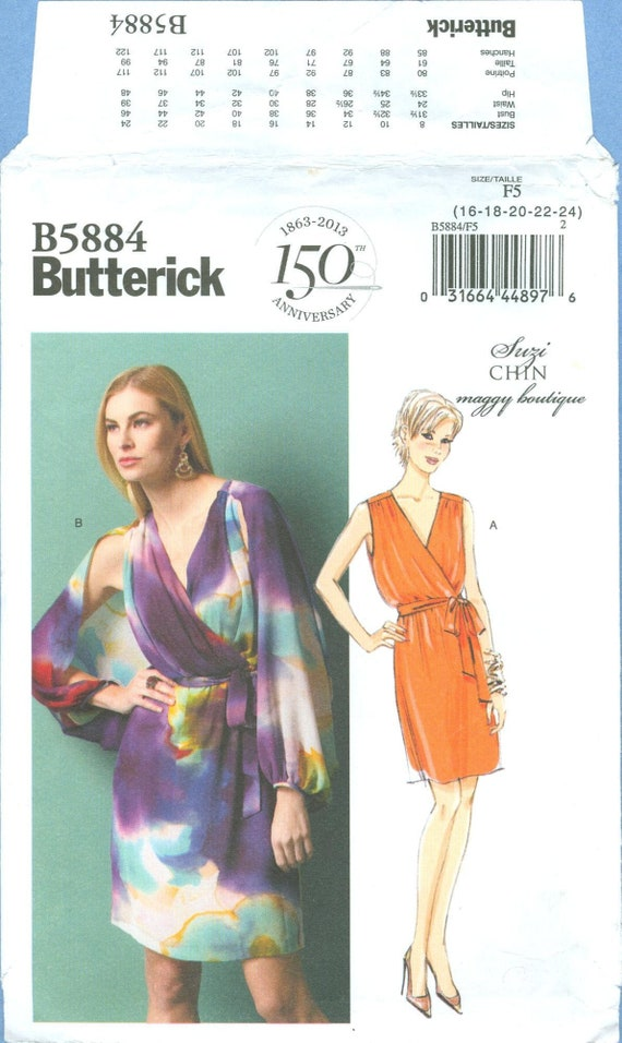 Suzi Chin mock wrap dress pattern sz 16 18 20 22 tankdress A line semi fitted