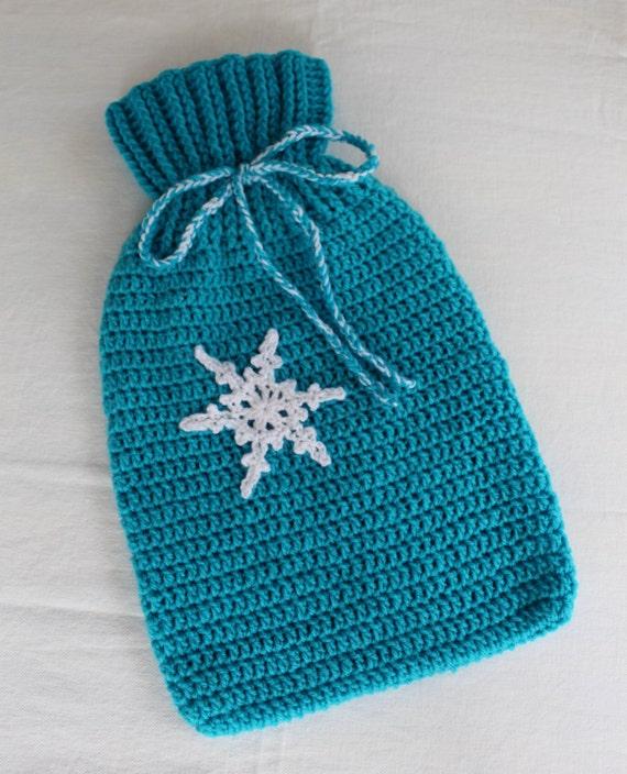 Crochet Pattern Snowflake Hot Water Bottle Cover Etsy