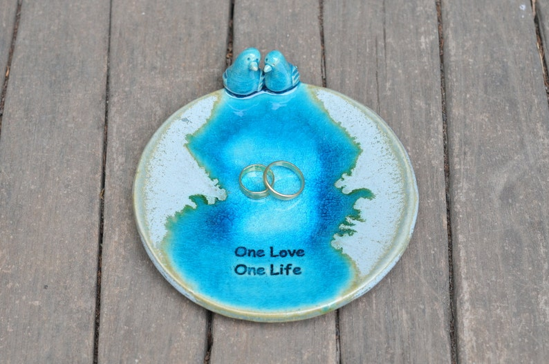 Love Birds ceramic ring dish turquoise ring holder valentines day jewelry dish jewelry bowl ring bearer bowl engagement gift Wedding gift