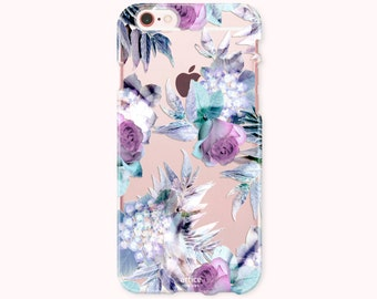 Floral iPhone 8 Case, iPhone 8 Plus Case, iPhone 7 Case, iPhone 6/6S Plus Case, iPhone 5/5S/SE Case, Galaxy Note8/S8 Case - Purple Roses