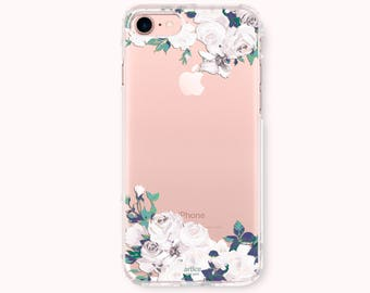 Floral iPhone 8 Case, iPhone 8 Plus Case, iPhone 7 case, iPhone 6/6S Plus Case, iPhone 5/5S/SE Case, Galaxy S8/S8 Plus Case - White Roses