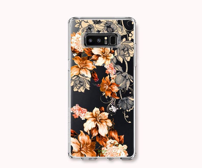 iPhone XXSMaxXR 88plus 77plus iPhone 11 Pro iPhone 11 Galaxy S10 Note10,S9S9plusNote9,S8S8PlusNote8 Case-Orange Flower Sketch