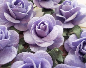 Purple paper flowers etsy paper roses purple mulberry paper roses card making embellishments purple paper flowers pale purple paper roses 20mm 08 mightylinksfo