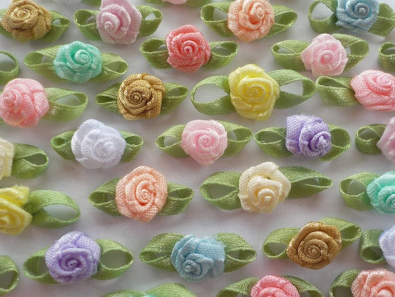 15mm 100 Pink Ribbon Rose Applique Embellishments Lovely Satin Ribbon Roses