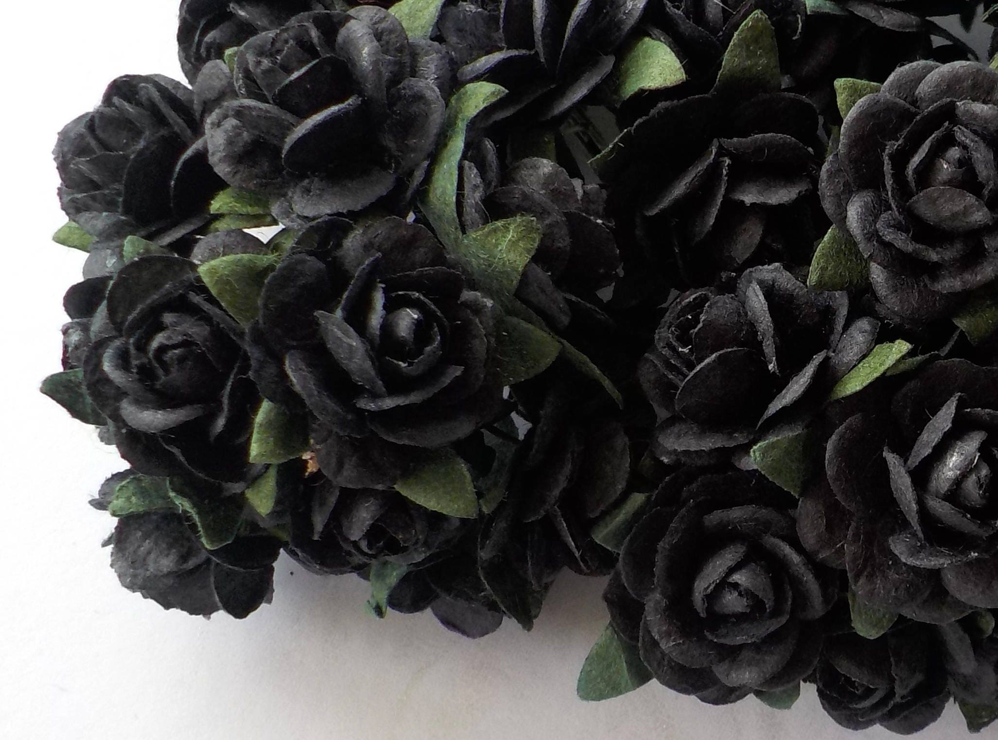100 Black Paper Roses Handmade Mulberry Paper Card Making